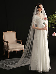 cheap -One-tier Elegant & Luxurious Wedding Veil Cathedral Veils with Scattered Bead Floral Motif Style / Solid Tulle