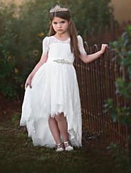 cheap -A-Line Asymmetrical Wedding Flower Girl Dresses - Satin / Taffeta / Tulle Short Sleeve V Neck with Sash / Ribbon / Tier / Solid