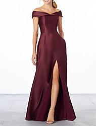 cheap -Sheath / Column Off Shoulder Floor Length Satin Bridesmaid Dress with Pleats / Split Front