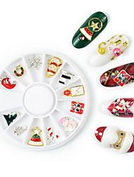 Недорогие -Рождество xmas дерево снеговик украшения искусства ногтя сплав металла diy 3d чешуйчатый блеск для ногтей стразы аксессуары ювелирные изделия инструмент