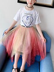 cheap -Kids Girls' Active Daily Wear Dress Blue & White Geometric Mesh Short Sleeve Regular Regular Clothing Set Blushing Pink