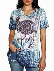 cheap -Women's Geometric Print T-shirt Daily Shirt Collar Blue / Red / Green