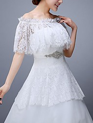 cheap -Half Sleeve Collars Lace Wedding Shawl & Wrap With Lace