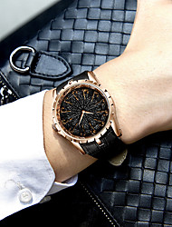 cheap -Men's Dress Watch Quartz Genuine Leather 30 m Water Resistant / Waterproof Day Date Analog Fashion Cool - Black / Silver Black+Gloden Golden+Silver One Year Battery Life