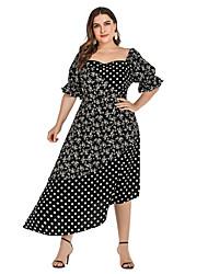 cheap -Women's Asymmetrical Sheath Dress - Half Sleeve Geometric Square Neck Elegant Loose Black XL XXL XXXL XXXXL