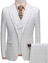 cheap -Tuxedos Tailored Fit Peak Single Breasted One-button Polyester Plaid / Check / Textured / Fashion