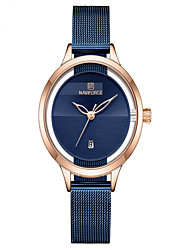 cheap -NAVIFORCE Ladies Quartz Watches Casual Fashion Black Blue Silver Stainless Steel Japanese Quartz Rose Gold Blue Silver Water Resistant / Waterproof Calendar / date / day New Design 30 m 1 pc Analog