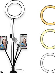 cheap -LED Ring Light TikTok Light Youtube Video LED Fill Light for Photography Live Broadcast Dimmable with Microphone Two Phone Holders Clip USB