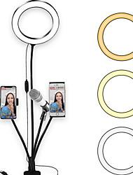 Недорогие -светодиодное кольцо света TikTok Light YouTube видео светодиодный заливной свет для фотографии в прямом эфире с возможностью затемнения с микрофоном два держателя телефона клип USB