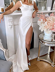 cheap -Sheath / Column Wedding Dresses Square Neck Sweep / Brush Train Charmeuse Sleeveless Country Plus Size with Split Front 2020