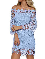 cheap -Women's Sheath Dress - Long Sleeve Solid Color Lace Off Shoulder Hollow Off Shoulder Floral Holiday 2020 Wine White Black Blushing Pink Orange Green Navy Blue Light Blue S M L XL XXL