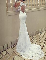 cheap -Mermaid / Trumpet Wedding Dresses Scoop Neck Sweep / Brush Train Lace Taffeta Chiffon Over Satin Sleeveless Sexy Plus Size with Lace Draping 2020