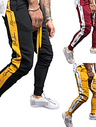 cheap -Men's Joggers Jogger Pants Track Pants Sports Pants Athletic Athleisure Wear Bottoms Side-Stripe Patchwork Drawstring Cotton Running Jogging Training Breathable Moisture Wicking Soft Sport Black Red