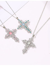 cheap -Women's Gold Blue Pink Cubic Zirconia Pendant Necklace Drop Cross Classic Ethnic Chrome Imitation Diamond Blushing Pink Gold Blue 45 cm Necklace Jewelry 1pc For Party Evening Formal Street Festival
