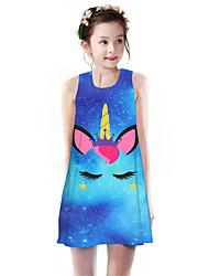 cheap -Kids Girls' Basic Cute Unicorn Galaxy Animal Cartoon Print Sleeveless Knee-length Dress Blue