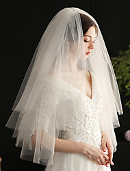 cheap -Two-tier Sweet Wedding Veil Elbow Veils with Solid Tulle / Angel cut / Waterfall