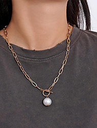 cheap -Women's Pendant Necklace Necklace Classic Lucky Simple Classic Elegant Trendy Imitation Pearl Chrome Gold 52 cm Necklace Jewelry 1pc For Masquerade Street Birthday Party Beach Festival