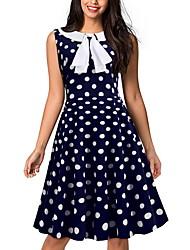cheap -Women's Sheath Dress Knee Length Dress - Sleeveless Polka Dot White Red Blushing Pink Navy Blue S M L XL XXL