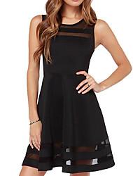 Недорогие -Жен. А-силуэт Платье - Без рукавов Сплошной цвет Белый Черный XS S M L XL XXL