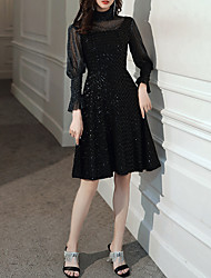 cheap -A-Line Sparkle Black Homecoming Cocktail Party Dress High Neck Long Sleeve Knee Length Tulle Sequined with Sequin 2020