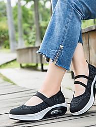 cheap -Women's Athletic Shoes Wedge Heel Round Toe Mesh Summer Wine / White / Black
