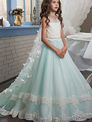 cheap -Ball Gown Floor Length Wedding / Event / Party Flower Girl Dresses - Polyester Sleeveless Jewel Neck with Appliques / Color Block