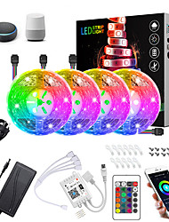 cheap -20M(4x5M) LED Light Strips RGB Tiktok Lights Intelligent Dimming App Control Waterproof Flexible 5050 SMD 600 LEDs IR 24 Key Controller with Installation Package 12V 8A Adapter Kit