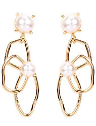 cheap -Women's Pearl Hoop Earrings Geometrical Love Classic Vintage Pearl Earrings Jewelry Gold For Party Gift Daily 1 Pair