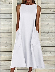 cheap -Women's A Line Dress Midi Dress White Blue Yellow Gray Sleeveless Pocket Summer Round Neck Basic Hot S M L XL XXL