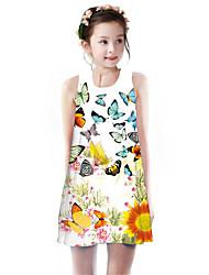 cheap -Kids Girls' Basic Cute Butterfly Sun Flower Plants Floral Animal Print Sleeveless Knee-length Dress Rainbow