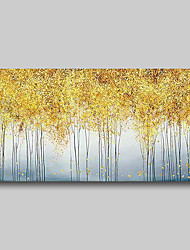 cheap -Oil Painting Hand Painted - Abstract Comtemporary Modern Stretched Canvas Golden Trees