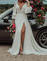cheap -A-Line Wedding Dresses Plunging Neck Sweep / Brush Train Chiffon Long Sleeve Country Plus Size with Draping Split Front 2020