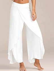 cheap -Women's Sporty Loose Wide Leg Pants - Solid Colored Wine White Black S / M / L