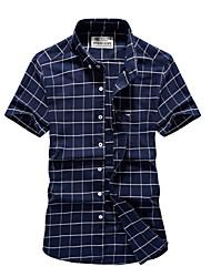 cheap -Men's Shirt Plaid Tops Basic Standing Collar White Navy Blue Light Blue / Short Sleeve