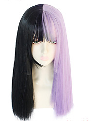 Недорогие -ГАГА ЛЕДИ Косплэй парики Жен. Прямая челка 26 дюймовый Термостойкое волокно Естественные прямые Фиолетовый Светло-лиловый Аниме