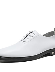 cheap -Men's Business Wedding Party & Evening Oxfords Leather Height-increasing White / Black