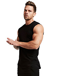 cheap -Men's Tank Top Shirt Solid Colored Sleeveless Sports Tops Cotton Round Neck Wine White Black
