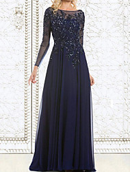 cheap -A-Line Illusion Neck Floor Length Chiffon / Lace Long Sleeve Elegant Mother of the Bride Dress with Lace / Appliques 2020
