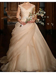 cheap -Ball Gown Wedding Dresses V Neck Sweep / Brush Train Polyester Sleeveless Romantic Plus Size with Ruched Draping 2021