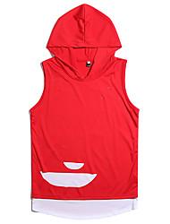 cheap -Men's Color Block Slim T-shirt Daily Hooded White / Black / Red / Green / Sleeveless