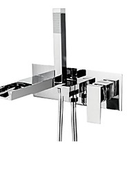 cheap -Bathtub Faucet - Contemporary Wall Mounted Waterfall Chrome Bathroom Bath Shower Mixer Taps with Handheld Shower
