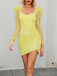 cheap -Apparel Dot Sweet Pink Long Sleeve Mini Tube Wrap Bodycon Lace Casual Dress MM0240