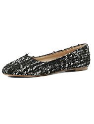 cheap -Women's Flats Flat Heel Round Toe Linen Casual / Minimalism Spring &  Fall Burgundy / Black / Beige / Color Block