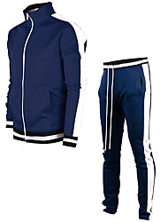 cheap -Men's Activewear Set Solid Colored Sports & Outdoors Basic Hoodies Sweatshirts  Slim Blue White Black