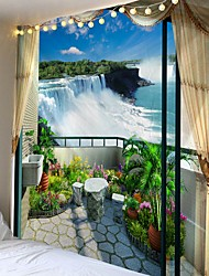 Недорогие -Балкон с видом на город напечатаны большие настенные гобелены дешевые хиппи на стене богемные настенные гобелены мандала стены искусства декора