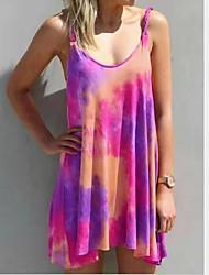 cheap -Women's Plus Size Mini Tunic Dress - Short Sleeves Print Off Shoulder Purple Yellow Blushing Pink Green Light Blue XS S M L XL XXL XXXL XXXXL