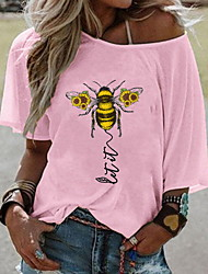 cheap -Women's Animal Print T-shirt Daily One Shoulder White / Yellow / Blushing Pink