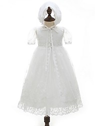 cheap -Ball Gown Floor Length First Communion Christening Gowns - Polyester Sleeveless Jewel Neck with Lace / Bow(s)