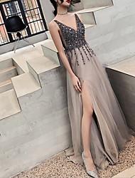 お買い得  -Aライン エレガント 光沢タイプ 結婚式のゲスト フォーマルイブニング ドレス Vネック ノースリーブ スイープ/ブラシトレーン チュール 〜と スパンコール スリット 2020年
