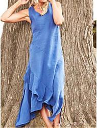 Недорогие -Жен. Макси Туника Платье - Без рукавов Сплошной цвет V-образный вырез Винный Синий Желтый Серый S M L XL XXL